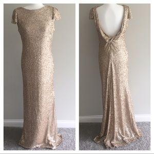 Sorella Vita champagne gold sequin gown